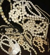Assorted Shades Faux Pearl Estate Antique Jewelry Necklace Scrap Craft Vin Lot