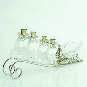 Sterling 20 Clear Frosted Reindeer Pulled Sleigh Christmas Taper Candle Holder