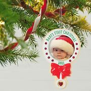 Christmas Ornament, Year Dated 2021, Baby's First Christmas Photo Frame