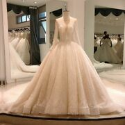 Sexy Wedding Dresses Ivory Gowns O Neck Beaded Off Shoulder Long Sleeves Lace Up