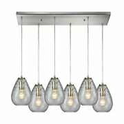 Elk Lagoon 6-light Rectangle In Satin Nickel With Clear Glass Pendant 10760/6rc