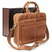Leather Briefcases For Men   Soft Full Grain Leather 15.6-inch Light Brown