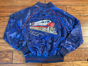 Vintage 80s Style Auto M Jacket Sunset Limited Southern Pacific Train Lines 1776