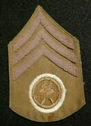 Wwi Us Army Transportation Corps Sergeant Rank Insignia Patch Wool On Cotton Vg+