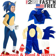 Kids Halloween Cosplay Sonic The Hedgehog Jumpsuit Costume Party Fancy Dress New