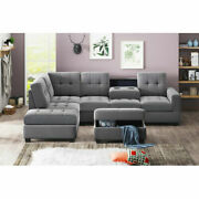 3pcs Microfiber Sectional Sofa With Chaise Lounge Storage Ottoman Cup Holders