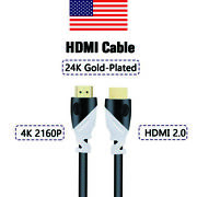 Hdmi Cable 4k 2160p Gold-plated 3d 1080p Tvs Ps3 Ps4 Xbox One Pc Hdtcs 3ft-12ft