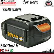 6.0ah Wa3578 20v Max Lithium Battery For Worx Power Share Hedge Trimmer Blower