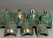 9 Antique Old China Bronze Silver Ware Dynasty Chime Zhong Bell Wall Hang Set