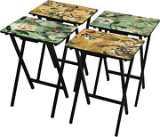 Oriental Furniture Birds And Flowers Tv Tray Set With Stand