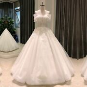 Bride Dress Wedding Ball Gowns Deep Off Shoulder Short Sleeve Bead Pearl Lace Up