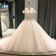 Weddings Dress Ball Gowns Vintage Princess Boat Neck Sashes Pearls Sequined Lace