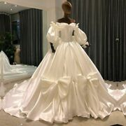 Vintage Wedding Ball Gowns Dress Boat Neck Lace Up Lantern Sleeves Satin Bow New