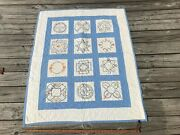 Antique Blue And White Embroidered Crib Quilt Vintage