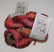 Lot Of 2 Skeins Of Interlacements Rayon Ribbon Yarn Color Fireplace Embers