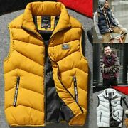 Menand039s Quilted Vest Jacket Winter Warm Down Body Sleeveless Padded Coat Outwear