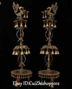 36old Huge Turquoise Coral Gilt Phoenix Candlestik Oil Lamp Candle Stick Pair