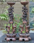 23 Red Bronze Copper Folk Dragon Two Lion Candlestick Chart Candle Holder Pair