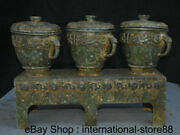 16.2 Rare Antique Chinese Bronze Ware Dynasty Palace 3 Jar Base Food Vessels