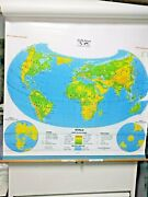 Cram Co. 2-layer Pull Down Laminated Maps U.s./world 4and039 X 5and039 Rare
