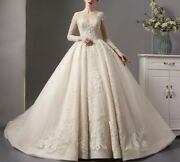 Ball Gown Wedding Bridal Dress V Neck Long Sleeves Full Beads Lace Appliques New