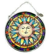 Amia Stained Glass Suncatcher Small 3.1/4 Round Sun Face Window Hanging