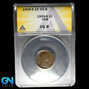 1909 S Vdb Anacs Vg-8 Lincoln Cent Wheat Penny W5976