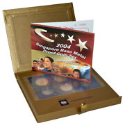 2004 Singapore 6 Coin Base Metal Proof Set - Display Box And Coa Mint Packaging