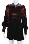 Womens Beaded Fringe Crystal Accent Mini Dress Black Red Size 2