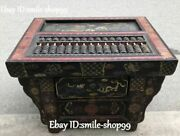 Wood Lacquerware Abacus Abaci Counting Frame Beads Storage Box Case Lion Statue