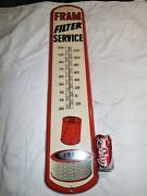Mint Vintage Auto Truck Fram Filter Usa Ri Gas Oil Station Tin Thermometer Sign