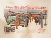 Magazine Ad - 1953 - Hertz Rental Cars And American Airlines