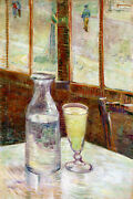 Glass Of Absinthe In A Cafe Table Paris 1887 Painting By Van Gogh Repro Free S/h