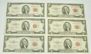 Lot Of 6 1953 A-b Us Red Seal 2 Dollar Paper Currency Extra Fine Grade Notes