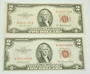 Lot Of 2 1953 A-b Us Red Seal 2 Dollar Paper Currency About Uncirculated Notes