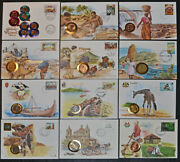 World Collection Of 12 Numismatic Covers - All Different - 19 Coins - Mostly Bu