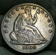 1869 Seated Liberty Half Dollar 50c - Key Date 795,900 Minted, Nice Coin 689