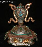 13 Rare Tibet Natural Crystal Bronze Gold Coral Turquoise Gem Conch Base Statue