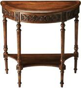 Console Traditional Antique Demilune Dark Toffee Distressed Resin Appli