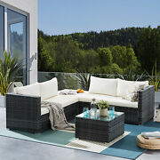 6pcs Patio Rattan Sofa With Glass Table Conversation Set W/ Cushions And Pillows