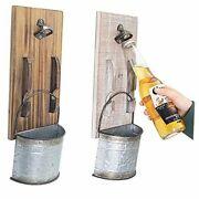 2pcs Beer Bottle Opener Wall Mounted With Cap Catcher For Beer Lovers Kitchen