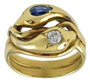 19th Century Sapphire And Diamond Gold Snake Ring
