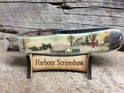 Case Limited Ed Christmas Knife W Original Scrimshaw By Harbour Of Tree And Farm