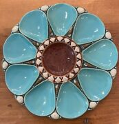 Antique Minton 9-well Oyster Plate Turquoise Blue Brown 1872 Mold 1324 Rare