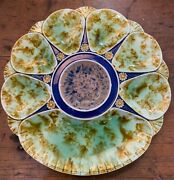 Rare Antique Minton Mottled Oyster Plate With Cracker Well Green Brown Blue