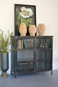 Kalalou Short Iron And Glass Apothecary Cabinet Cll1279