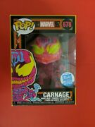 Funko Pop Marvel 678 Carnage Black Light Exclusive And039mintand039 With/protector