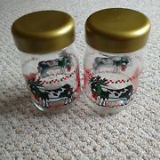 Vintage Christmas Cow Pulling Sleigh Glass Canister Set With Plastic Screw Lids