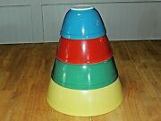Vintage Pyrex Primary Color Mixing Nesting Bowl Set, 401, 402, 403, 404, Nice