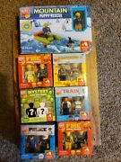 Block Tech Building Set And Figurines Lot Of 7 Fire Train Police Mystery Nib